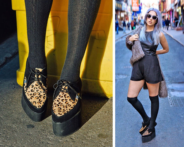 Black Leopard EVA Stacked Pointed Creepers