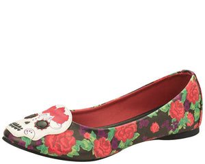 Day Of The Dead Floral Flat Shoes - *FINAL SALE/non-returnable