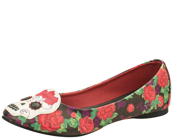 Day Of The Dead Floral Flat Shoes