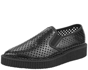 Black Perf Pointed Slip Ons - T.U.K.