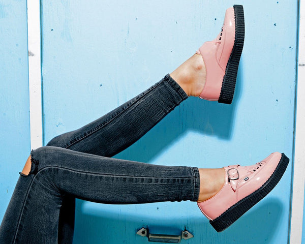 Peachy Pink Patent Pointed Creeper - T.U.K.