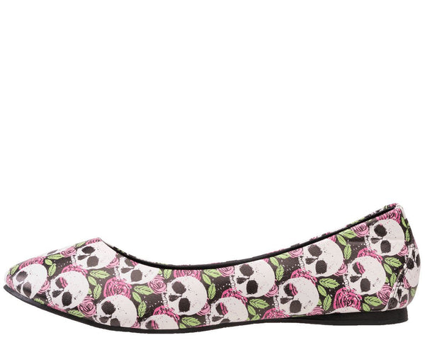 Skull & Pink Rose Flats - *FINAL SALE/NON-RETURNABLE