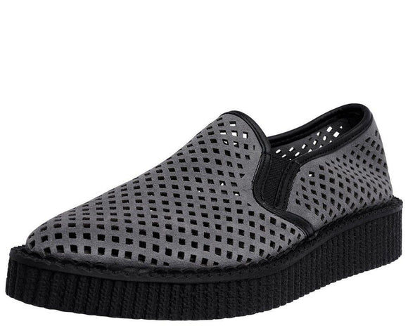 Grey Perforated Pointed Slip Ons