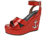 Red Anchor Sandal Wedge - T.U.K.