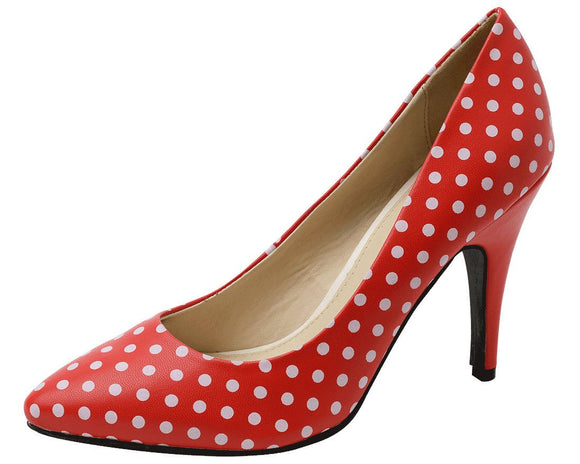 Red Polka Dot Pointed Heel