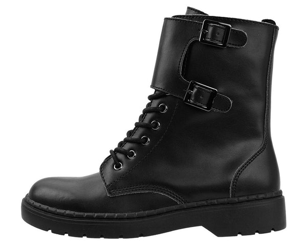Black Top Strap Ealing Boot - T.U.K.