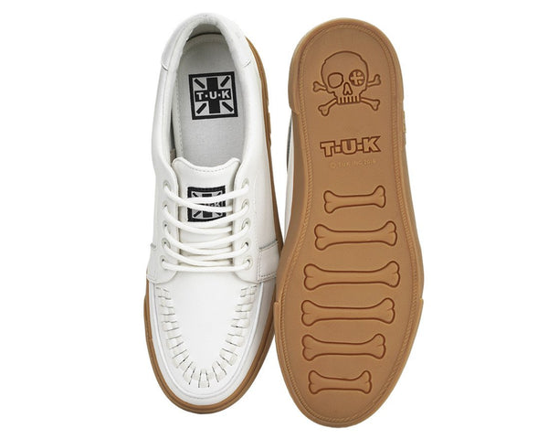 White Leather No-Ring VLK Sneaker - T.U.K.