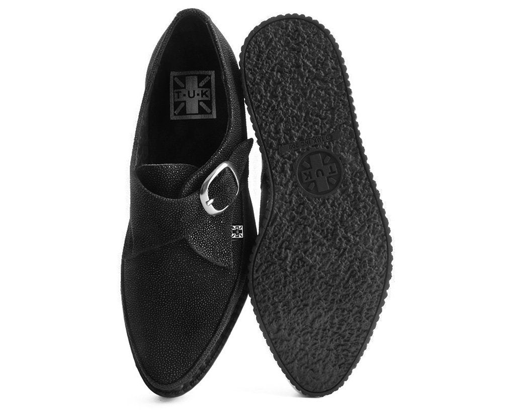 79dd5bf6661 Black Mock Stingray Leather Monk Buckle Pointed Creepers – T.U.K. ...