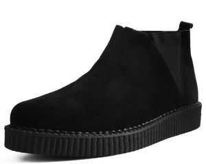Black Suede Chelsea Pointed Creeper Boot