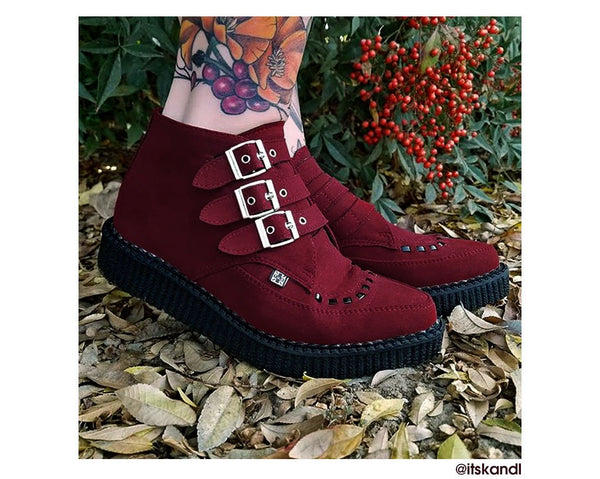 Dark Red Faux Suede 3-Buckle Pointed Boot