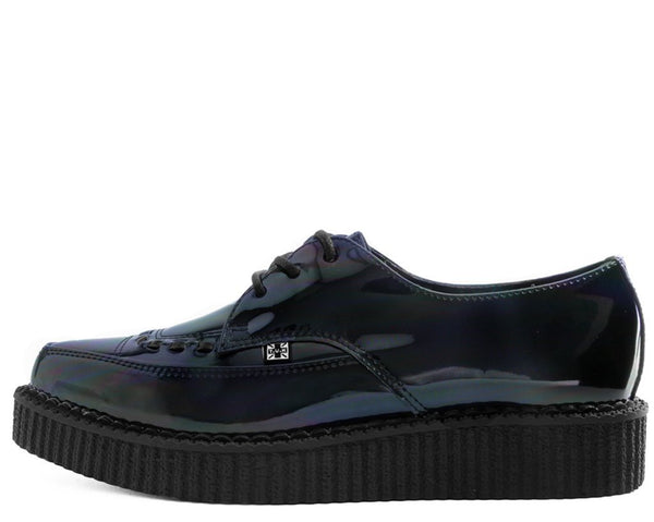 Black Hologram Patent Lace Up Pointed Creeper