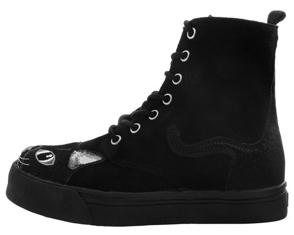 Black Faux Suede Embroidered Kitty Sneaker Boot