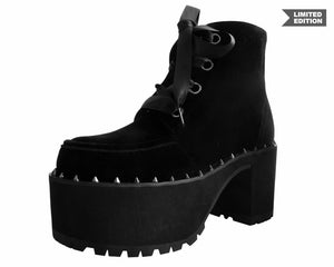 Black Velvet Spiked Nosebleed Boot