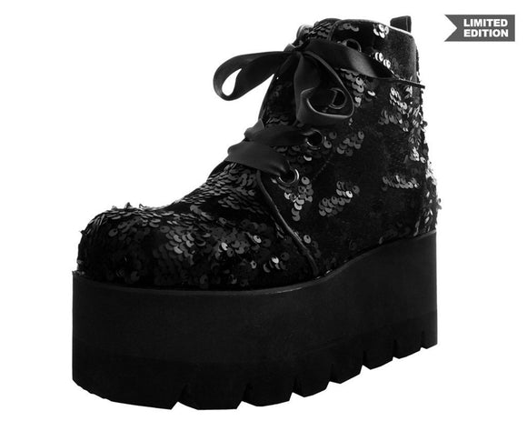 Black Sequin Camo Tractor Boot