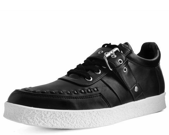 Black TUKskin™  Buckle Faux Crepe Trainer