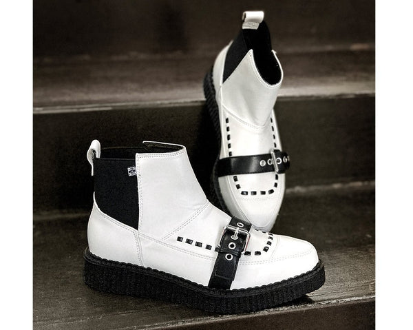 White TUKskin™ Buckle Pull-On Pointed Boot