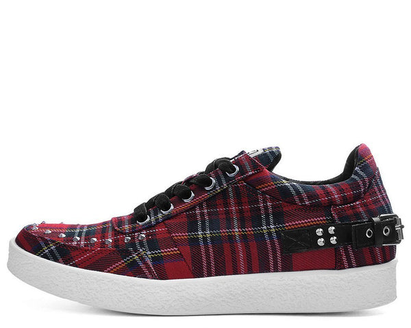 Red Plaid Faux Crepe Trainer