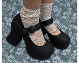 Black Mary Jane Marley Heel