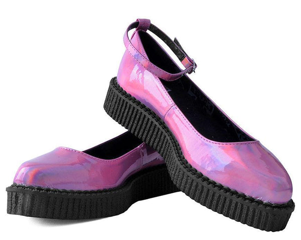 Pink Hologram Pointed Ballet Ankle Strap Creeper