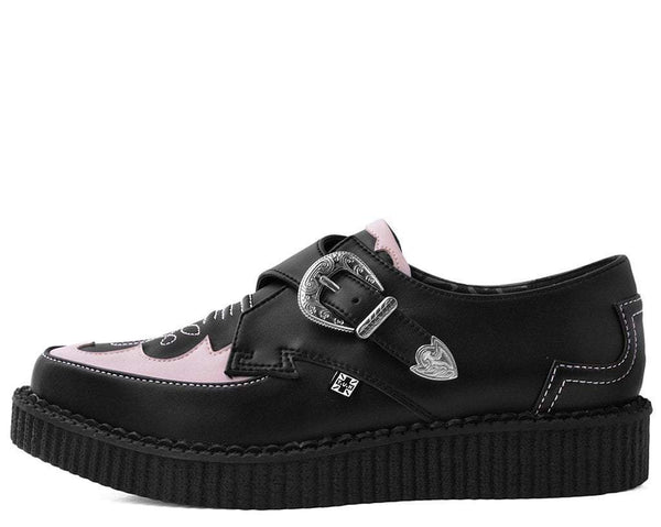 Black & Pink Western Pointed Buckle Creeper