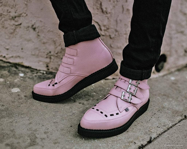 Pink TUKskin™ 3 Buckle Interlaced Pointed Creeper Boot