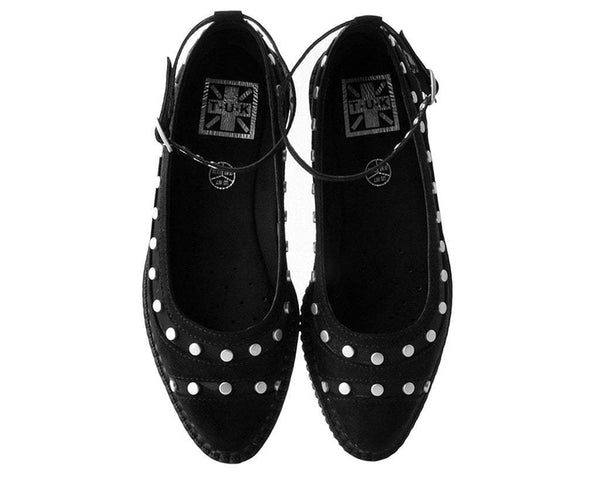 Black & Studded Mesh Pointed Ballet Creeper