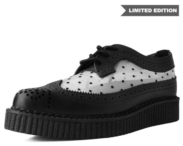 B/W Polka Dot Pointed Wingtip Creeper