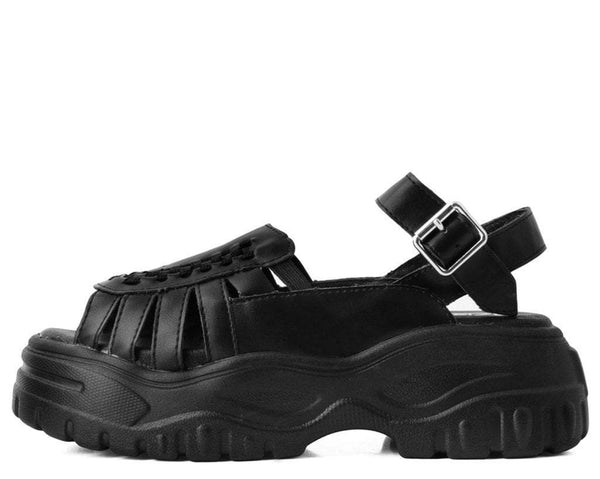 Black Wave Platform Creeper Sandal