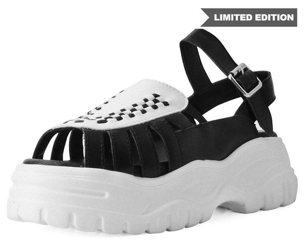 Black & White Wave Platform Creeper Sandal