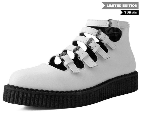 White TUKskin™ Multi-Strap Mary Jane Creeper