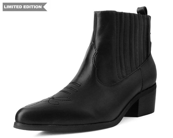 Black Chelsea Pointed Cuban Boot