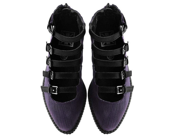 Plum Corduroy Multi-Strap Mary Jane Creeper