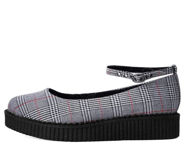 Grey Plaid Pointed Ballet Ankle Strap Creeper
