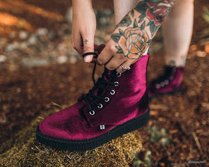 Burgundy Velvet Pointed Lace Up Boot