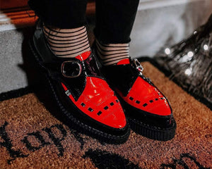 Black & Red Monk Buckle Pointed Creeper