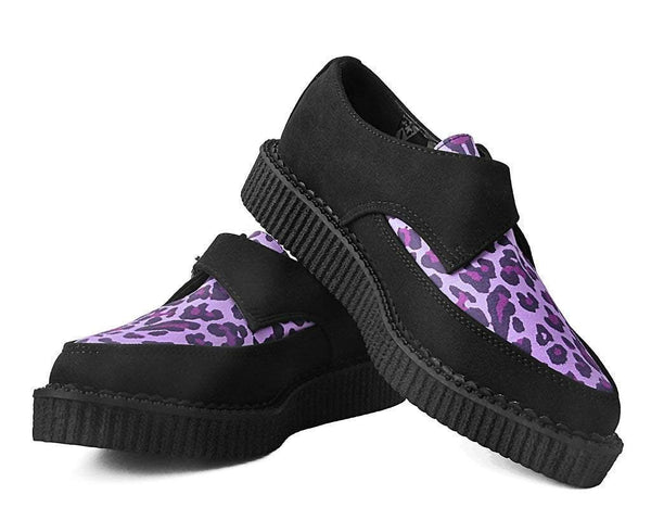 Black & Purple Leopard Faux Suede Pointed Creeper