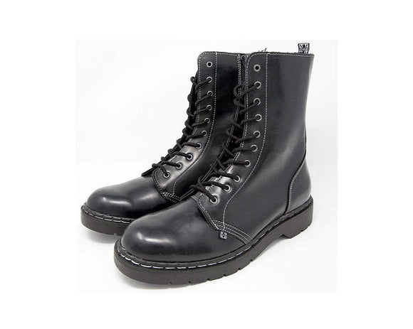 Black Waxy 10-Eye Boot with White Stitch