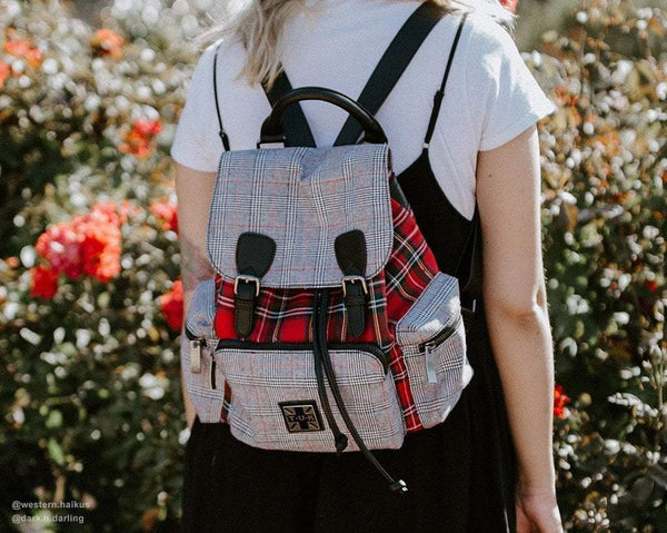 Grey & Red Plaid Drawstring Backpack