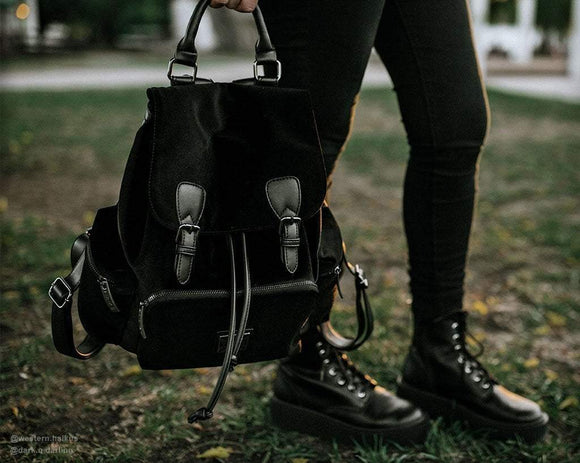 Black Velvet Drawstring Backpack