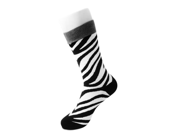 Grey Stripe Zebra Crew Sock