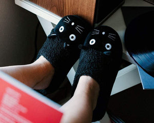 Black Fuzzy Kitty Slipper