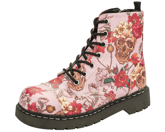 Pink Skull and Roses Boots - T.U.K.