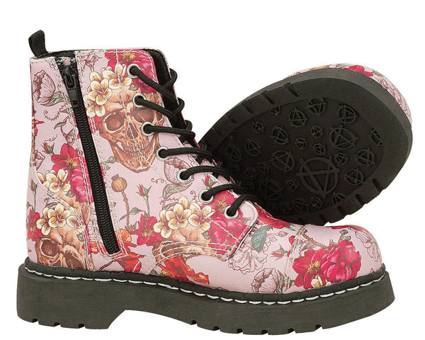 Pink Skull and Roses Boots - *FINAL SALE/NON-RETURNABLE