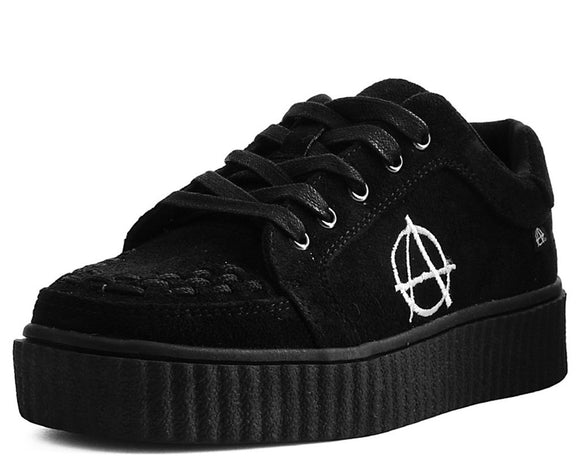 Black Faux Suede Anarchic R!OT Creeper