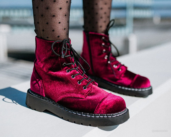 Burgundy Velvet Anarchic Boot
