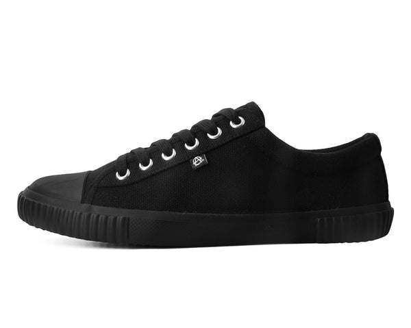 Anarchic Black Canvas Low Top Sneaker