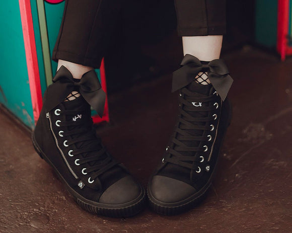 Anarchic Black Canvas High Top Sneaker