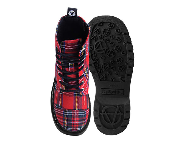 Red Plaid 7-Eye Anarchic Boot