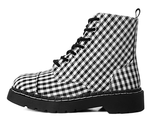 Black & White Gingham 7-Eye Anarchic Boot