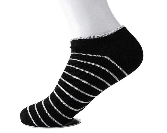 Black Striped Men's No-Show Sock